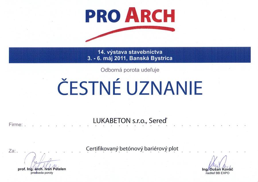 čestné uznanie poroty PRO ARCH 2011