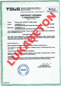 Betónový plot Lukabeton - certifikat