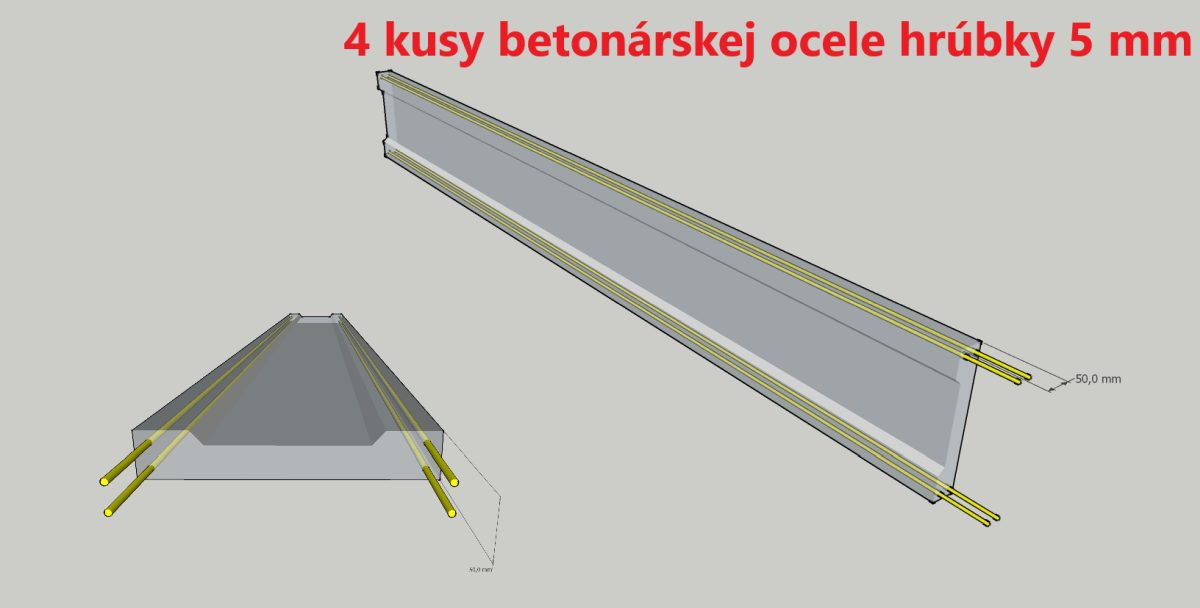 Betónové dosky 4 kusy ocele 5mm