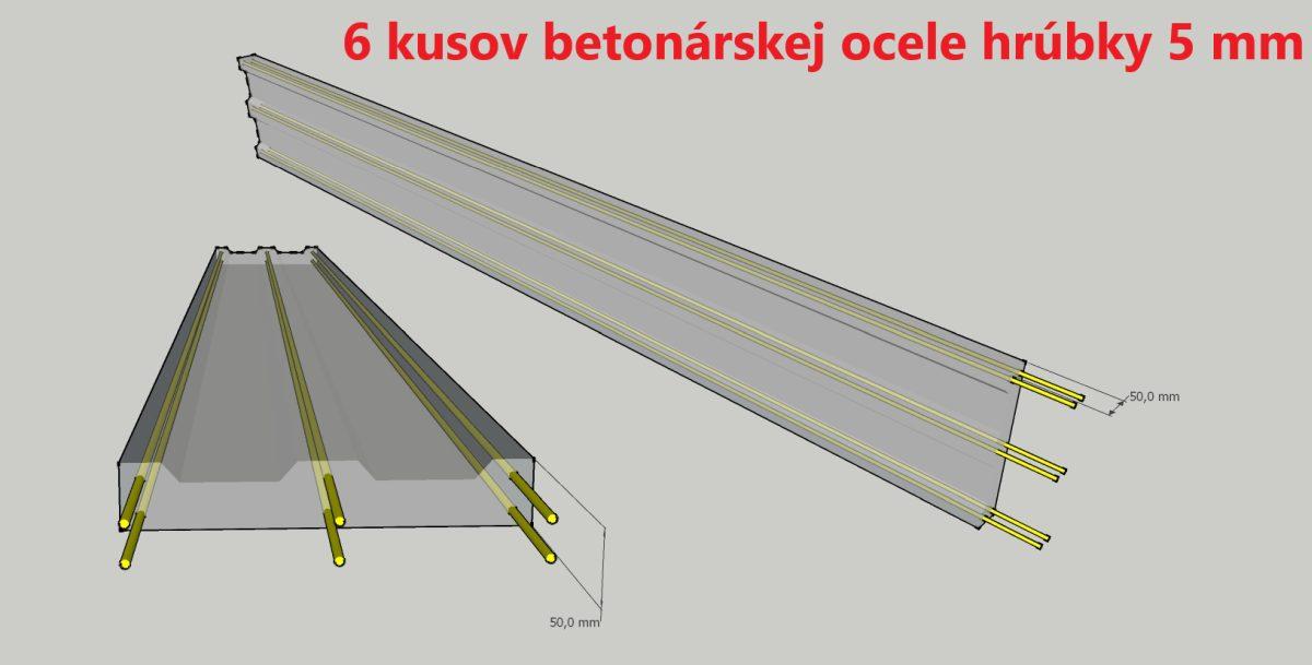 Betónové dosky 6 kusov ocele 5mm